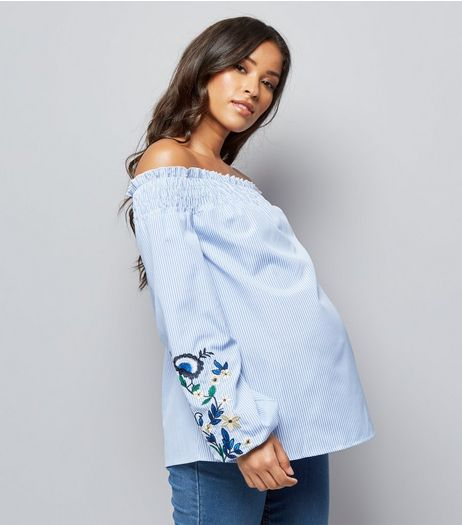 Maternity Blue Embroidered Sleeve Bardot Neck Top | New Look