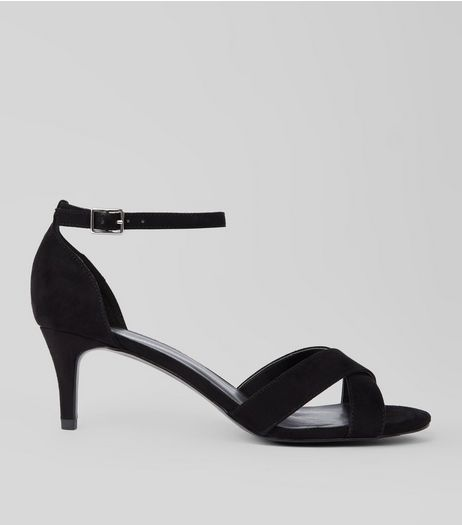 Black Suedette Cross Strap Kitten Heels | New Look