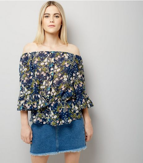 Blue Vanilla Navy Floral Print Bardot Neck Top | New Look