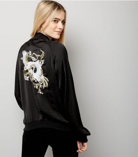 Blue Vanilla Black Floral Embroidered Bomber Jacket  | New Look