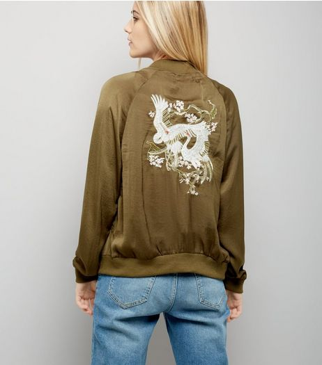Blue Vanilla Khaki Embroidered Back Satin Bomber Jacket | New Look