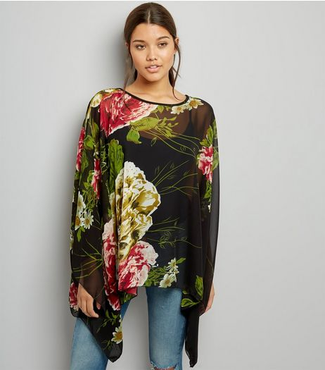 Blue Vanilla Black Rose Print Chiffon Top | New Look