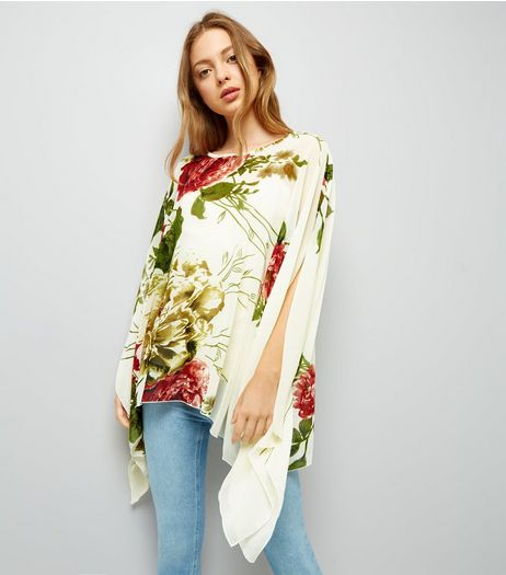 Blue Vanilla White Rose Print Chiffon Top | New Look