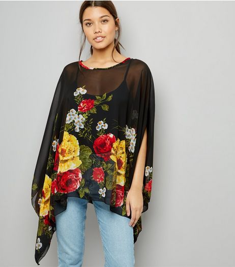 Blue Vanilla Black Floral Print Chiffon Top | New Look