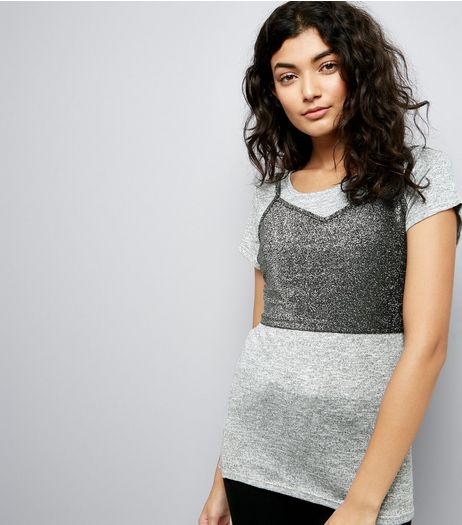 Grey Sparkle Bralet 2 in 1 T-Shirt | New Look