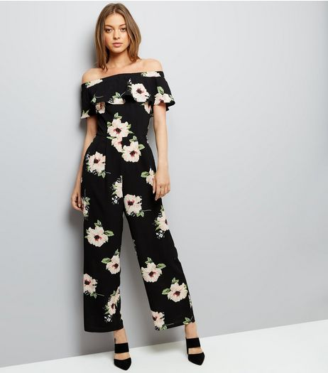 Cameo Rose Black Floral Print Bardot Neck Jumspuit  | New Look