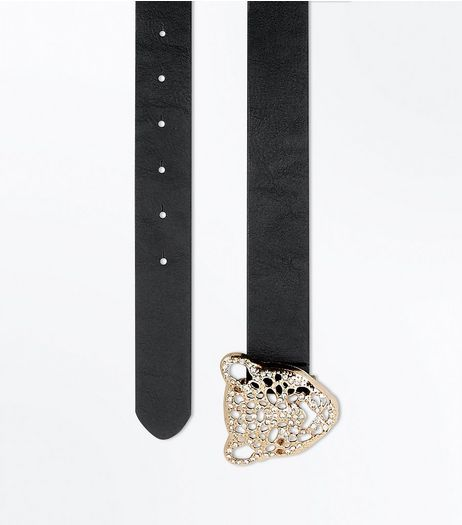 Black Tiger Buckle Belt | New Look