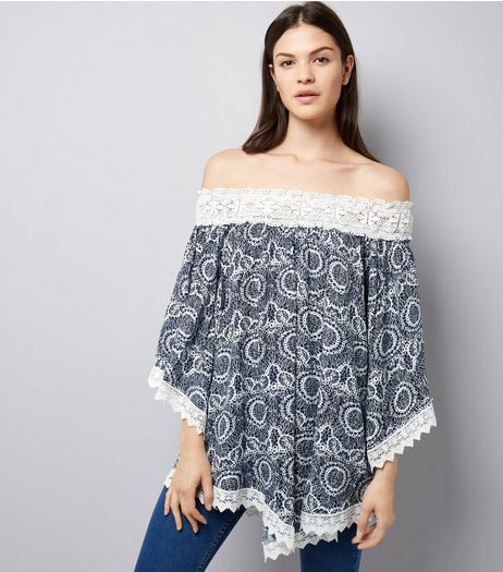 Apricot Navy Crochet Trim Off The Shoulder Top | New Look