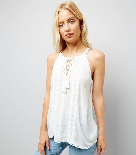 Apricot White Tassel Tie Front Top | New Look