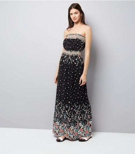 Apricot Black Floral Print Bandeau Maxi Dress | New Look