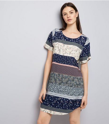 Apricot Navy Floral Panel Curved Hem Dress | New Look