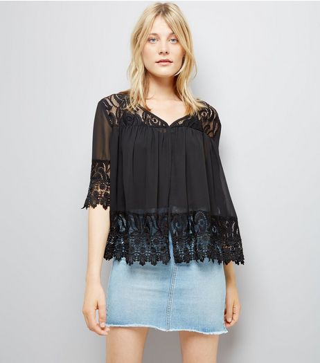 Apricot Black Lace Top | New Look
