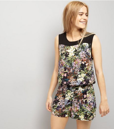 Apricot Black Tropical Print Playsuit  | New Look