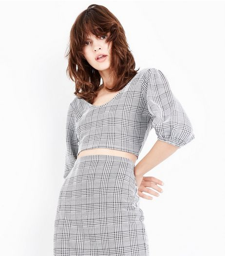 Black Check Puffed Sleeve Crop Top | New Look