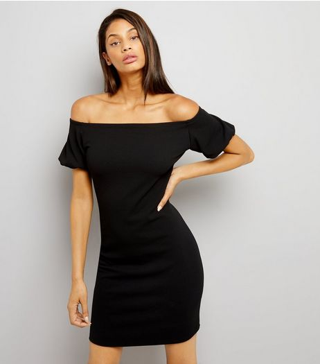 Black Puffed Sleeves Bardot Neck Dress | New Look