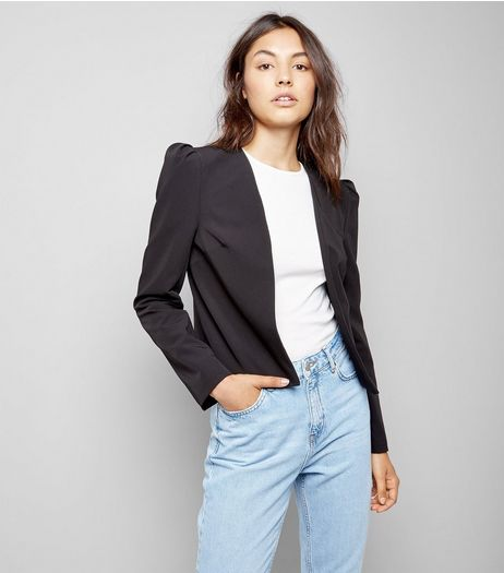 Black Puff Sleeve Blazer | New Look