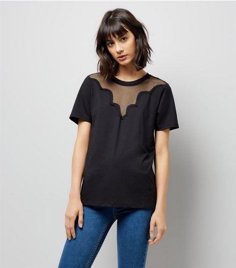 Tall Black Mesh Yoke T-Shirt | New Look