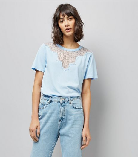 Blue Scalloped Mesh Panel T-Shirt | New Look
