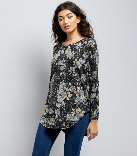 Blue Vanilla Zip Back Floral Print Top | New Look