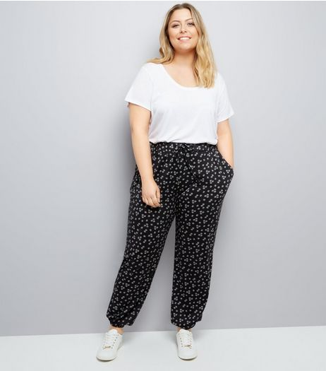 Curves Black Floral Jersey Joggers | New Look