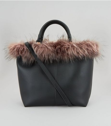 Black Faux Fur Trim Tote Bag | New Look