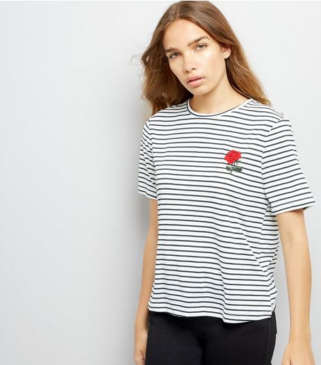 Navy Stripe Rose Embroidered T-Shirt | New Look