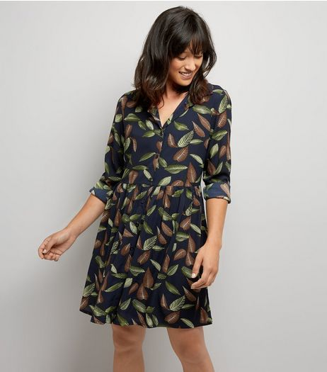 Mela Navy Leaf Print Shirt Dress | New Look