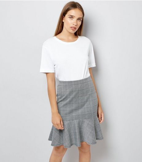 Innocence Black Check Frill Hem Skirt | New Look