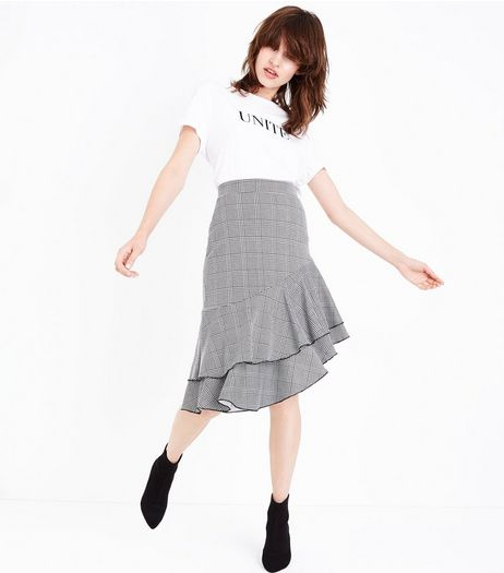 Innocence Black Check Asymmetrical Frill Hem Skirt | New Look