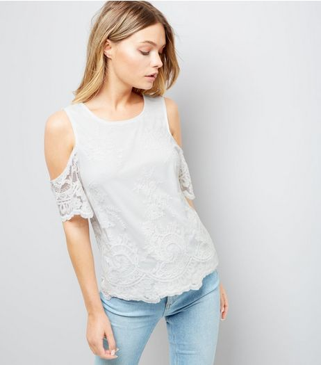 Cream Floral Embroidered Mesh Cold Shoulder Top | New Look