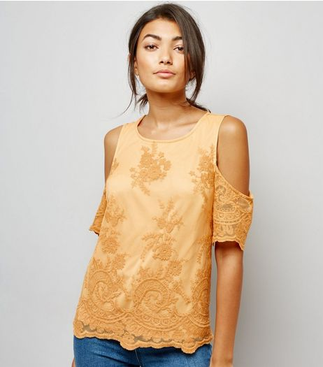 Yellow Floral Embroidered Mesh Cold Shoulder Top | New Look