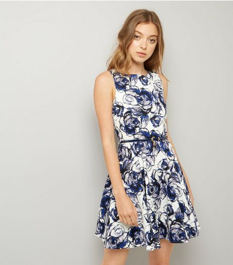 Apricot Blue Floral Print Belted Skater Dress | New Look