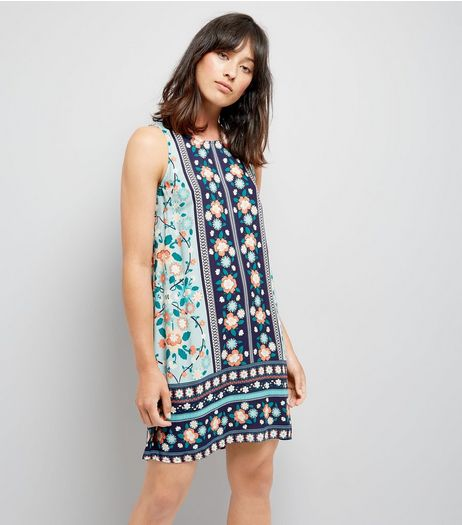 Apricot Green Floral Print Shift Dress | New Look
