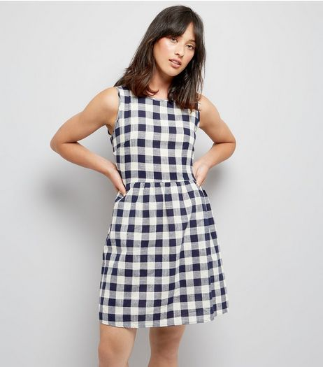 Apricot Navy Gingham Tie Waist Dress | New Look