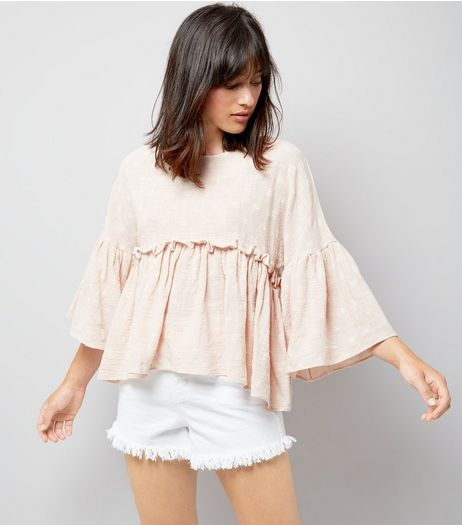 Apricot Shell Pink Daisy Embroidered Peplum Hem Top | New Look