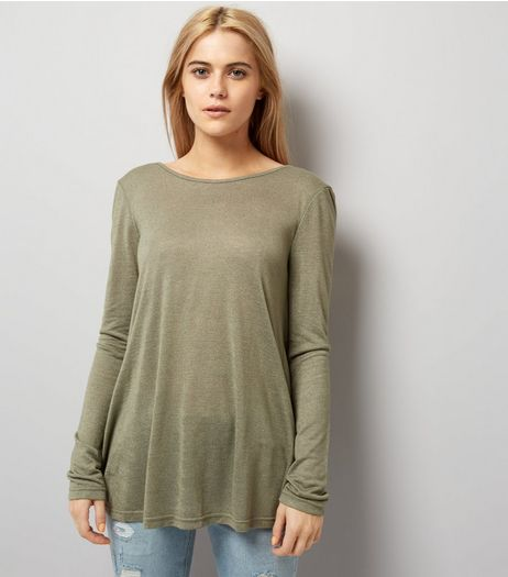 Apricot Khaki Twist Back Top | New Look