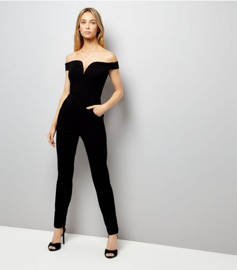Black Bardot Neck Jumpsuit  | New Look
