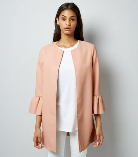 Cameo Rose Pink Frill Sleeve Jacket | New Look