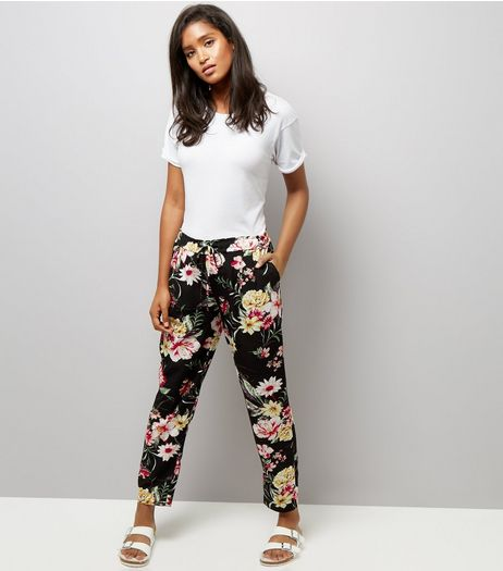 Cameo Rose Black Floral Print Drawstring Trousers | New Look