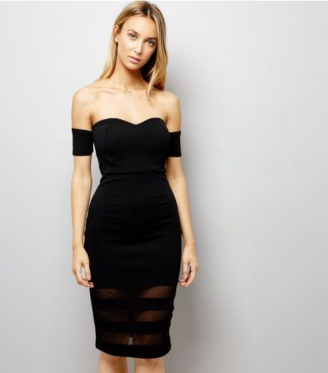 Black Bardot Neck Bodycon Dress  | New Look