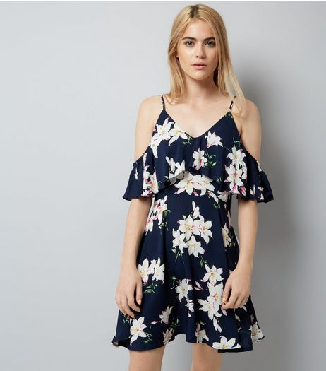 AX Paris Navy Floral Print Frill Cold Shoulder Dress | New Look