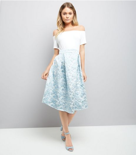 AX Paris Blue Floral Skirt Bardot Neck Dress | New Look