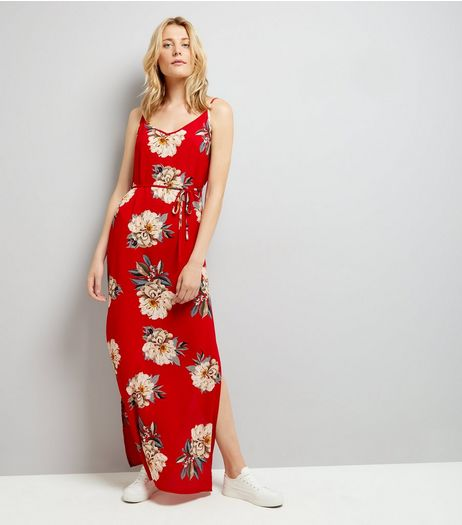 AX Paris Red Floral Maxi Dress | New Look