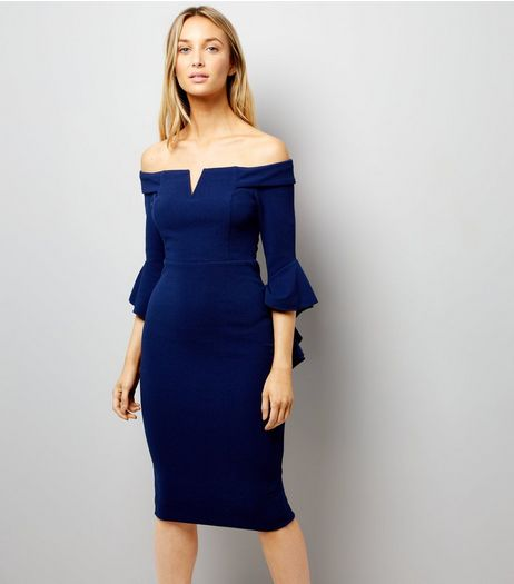 AX Paris Navy Bardot Neck Frill Sleeve Dress | New Look