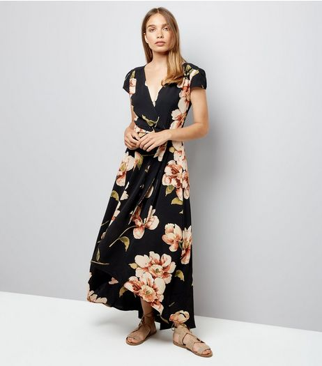 AX Paris Black Floral Wrap Front Dress | New Look