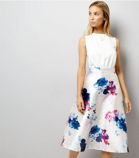 AX Paris White Floral Print Satin 2 in 1 Dress | New Look