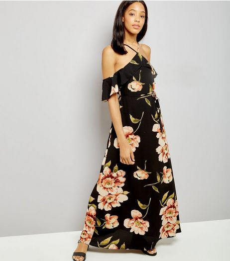 AX Paris Black Floral Print Cold Shoulder Dress | New Look