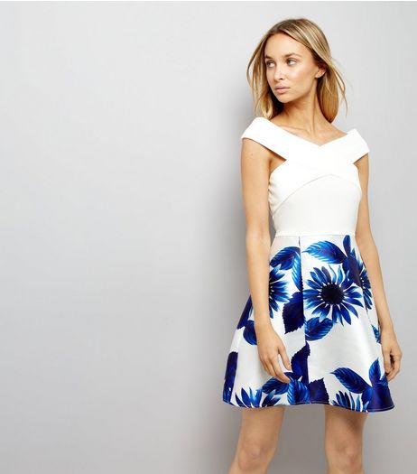 AX Paris Blue Floral Print Dress | New Look