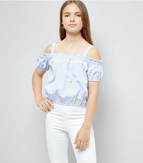 Teens Blue Stripe Floral Embroidered Top  | New Look