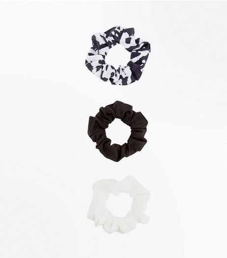 3 Pack Black White and Marble Print Scrunchies | New Look